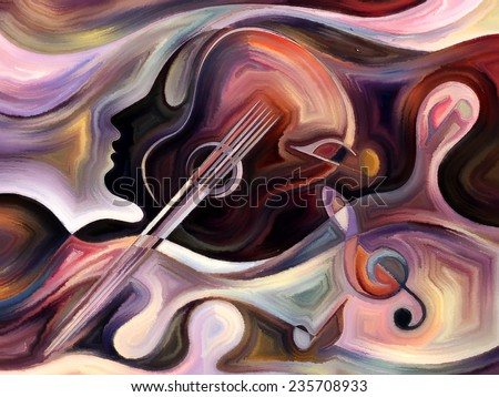 Inner Melody series. Design composed of colorful human and musical shapes as a metaphor on the subject of spirituality of music and performing arts - stock photo