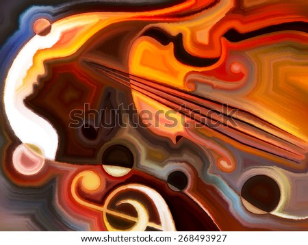 Inner Melody series. Interplay of colorful human and musical shapes on the subject of spirituality of music and performing arts - stock photo