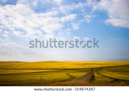 Inner mongolia grassland with blue sky in autumn. - stock photo
