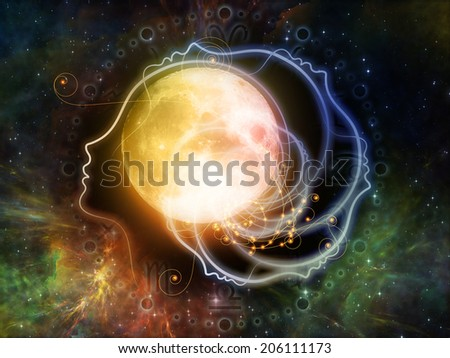 Inner Moon series. Backdrop of moon, human profile and astrological symbols on the subject of spirit world, dreams, imagination, astrology and the mind - stock photo