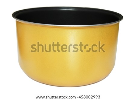 Inner pot of electric rice cooker - stock photo