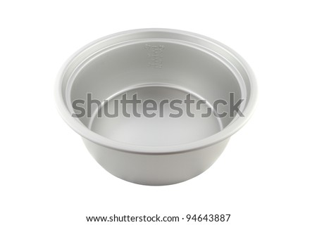 Inner pot of electric rice cooker with scale on white background. - stock photo