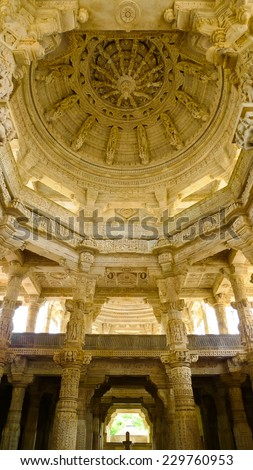 Inner view of main dome of Ranakpur Jain temple, Rajasthan, India - stock photo