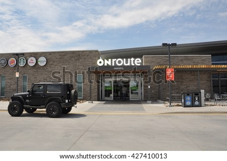 Innisfil, Ontario, Canada - May 22, 2016: Front of Onroute building at Innisfil.  - stock photo