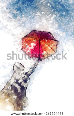 Innocent girl dancing with her umbrella modern watercolor painting - stock photo