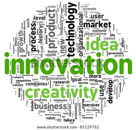 Innovation and creativity concept related words in tag cloud - stock photo