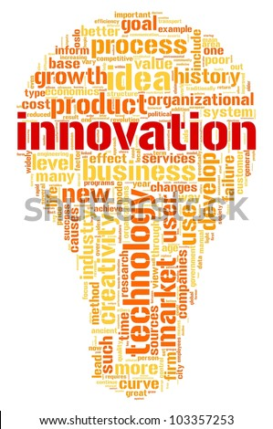 Innovation and technology concept related words in tag cloud inside bulb shape - stock photo