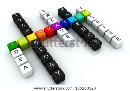 Innovation colorful box Crossword 3D render - stock photo