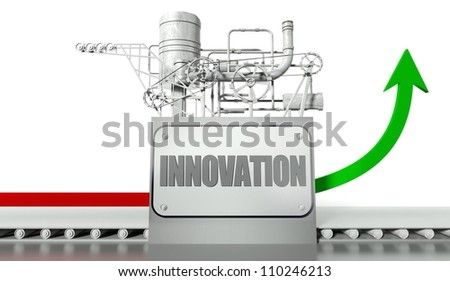 Innovation concept with graph arrow and machine - stock photo
