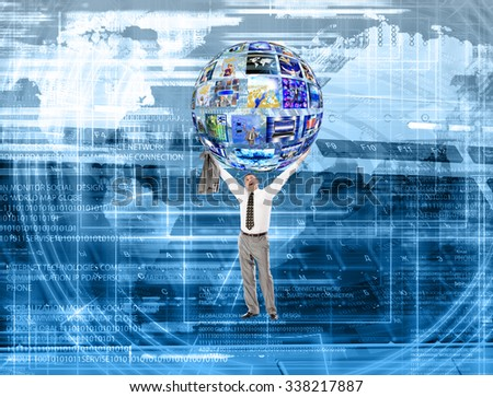 Innovation connection technology.Business abstract image with high tech graphs - stock photo