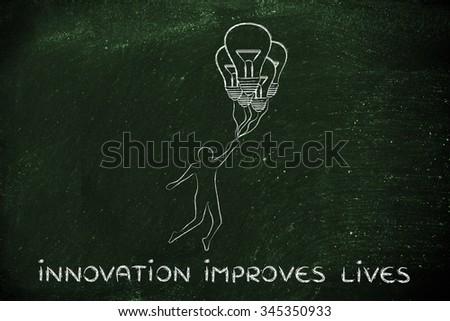 innovation improves lives: person flying by holding up to lightbulb shaped balloons - stock photo