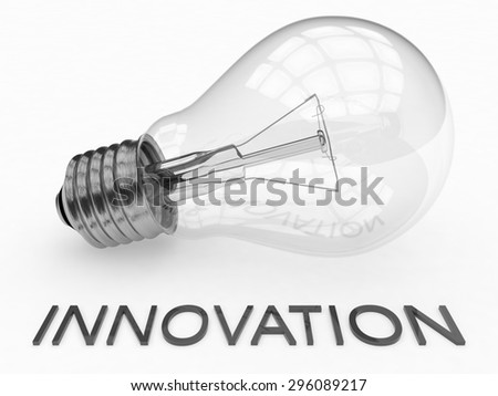 Innovation - lightbulb on white background with text under it. 3d render illustration. - stock photo
