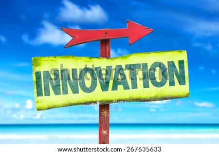 Innovation sign with beach background - stock photo