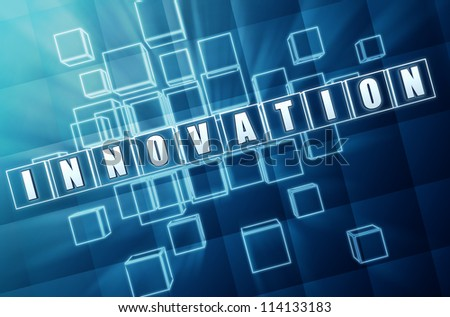 innovation text in 3d blue glass cubes with white letters - stock photo