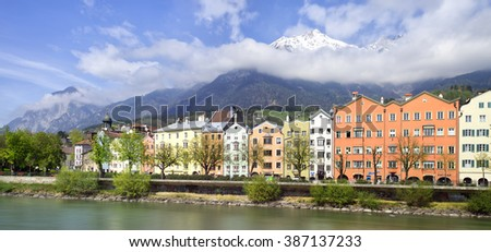 INNSBRUCK, AUSTRIA -?? APRIL 04: View to the historical Innsbruck houses on April 04, 2014 in Innsbruck. Innsbruck is an internationally renowned winter sports centre, and hosted 1964 Winter Olympics - stock photo
