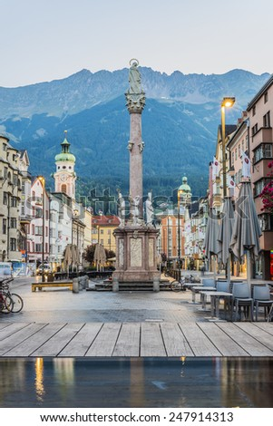 INNSBRUCK, AUSTRIA - AUG 16: St Anne Column (Annasaule) is a statue of the Virgin Mary in Maria-Theresien Street and one of its most famous landmarks on Aug 16, 2013 in Innsbruck, Austria. - stock photo
