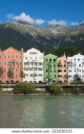 Innsbruck, Austria, home of beregu rivers Inn - stock photo