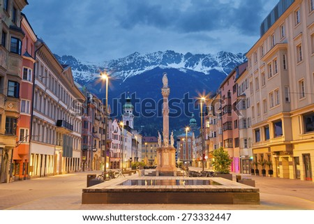 Innsbruck. Image of Innsbruck, Austria during twilight with European Alps in the background. - stock photo