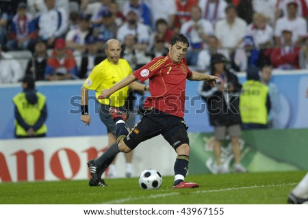 INNSBRUCK - JUNE 10: David Villa of Spain Football National Team during the match Spain-Russia 4:1 Euro2008 Group D scored 3goals. June 10, 2008, in Innsbruck, Austria - stock photo