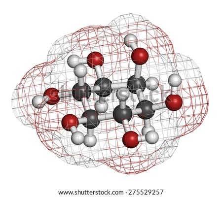 inositol (myo-inositol) molecule. Inositol and its phosphates play essential roles in a number of biological processes. Atoms are represented as spheres with conventional color coding.  - stock photo