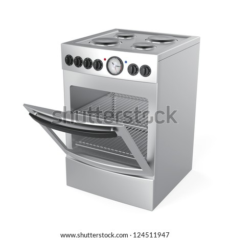 Inox electric stove on white background - stock photo