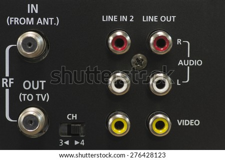 Input / Output jacks on the back of a DVD/VCR player/recorder - stock photo