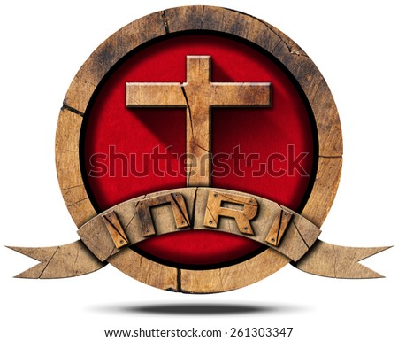 INRI - Wooden Icon with Cross. Wooden symbol with cross on red velvet and wooden ribbon with text INRI, Jesus of Nazareth the king of the jews in Latin. Isolated on white background - stock photo