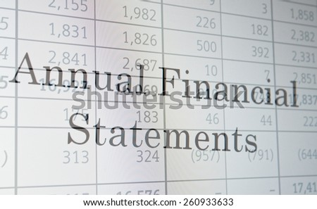 "Inscription ""Annual Financial Statements"" on PC screen. Financial concept. - stock photo"