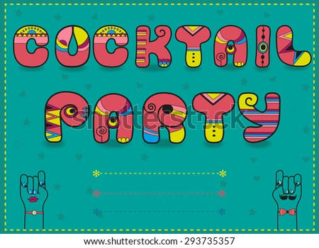 Inscription Cocktail Party. Funny pink Letters with bright parts - stock photo