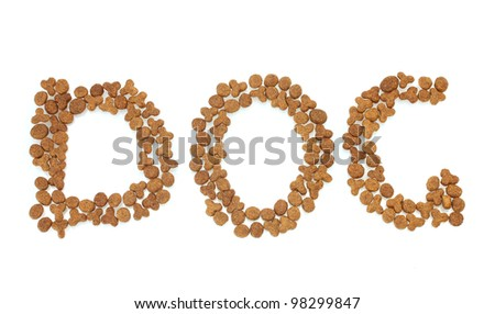 Inscription dog of dry cat food isolated on white - stock photo