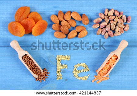 Inscription Fe, products and ingredients containing iron and dietary fiber, natural sources of ferrum, healthy lifestyle, food and nutrition - stock photo