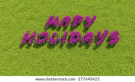 Inscription flowers in the meadow - stock photo