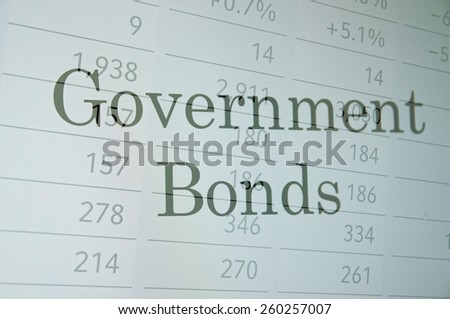 "Inscription ""Government bonds"" on pc screen. Financial concept. - stock photo"