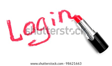 "Inscription lipstick ""log-in"". On a white background. - stock photo"