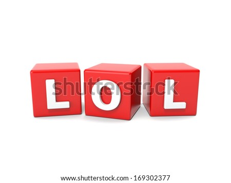 Inscription on the cubes of red,lol - stock photo
