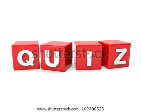 Inscription on the cubes of red,quiz - stock photo