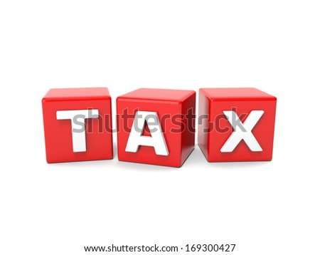 Inscription on the cubes of red,tax - stock photo