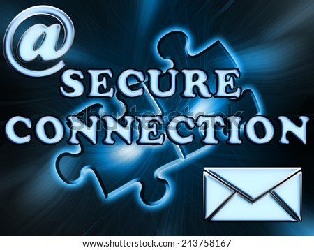 Inscription secure connection on abstract background - stock photo
