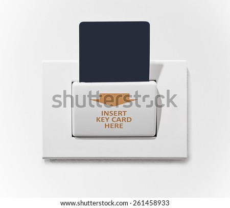 insert key card in electronic lock - stock photo