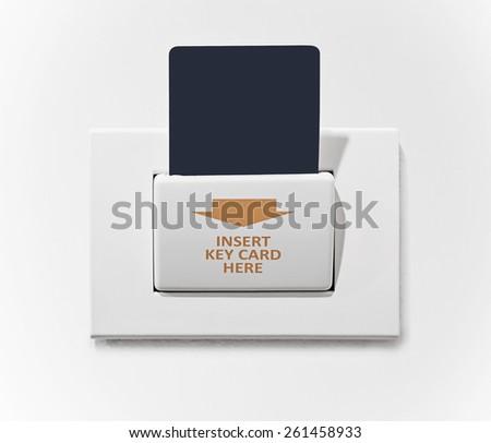 insert key card in electronic lock - stock photo