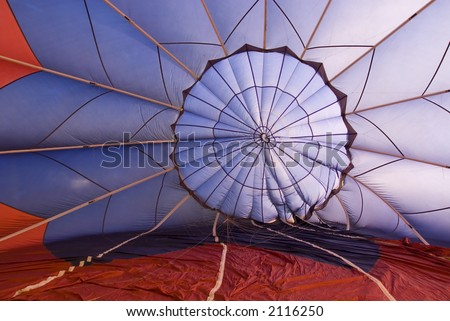 Inside a hot air balloon while it's getting inflated - stock photo