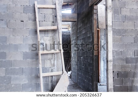 inside a house under construction - stock photo