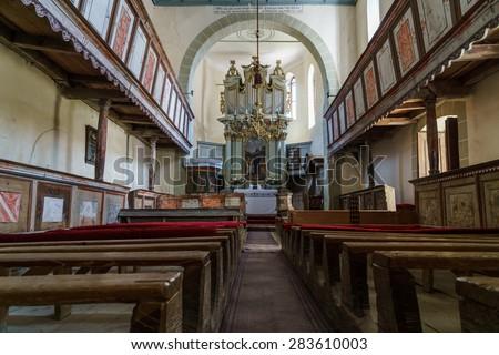 inside a medieval church  - stock photo