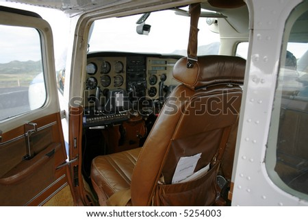 Inside a small airplane - stock photo