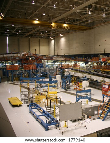 Inside Aerospace Production Facility Top View - stock photo