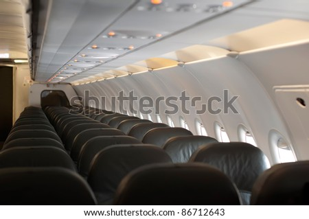 Inside an empty plane. Horizontal image - stock photo