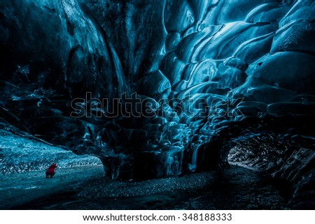 inside an ice cave in Iceland in winter - stock photo