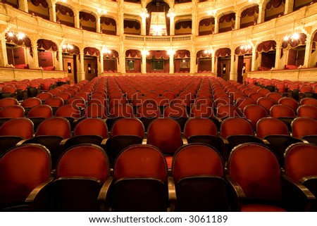 inside an old theater - stock photo