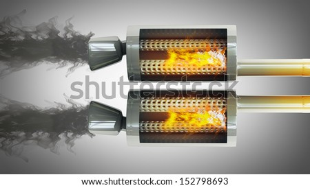 inside. Car Exhaust Pipe fire and smoke  high resolution 3d illustration  - stock photo