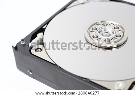 Inside Computer Hard Drive, Storage Technology focus on Disk Pate. - stock photo
